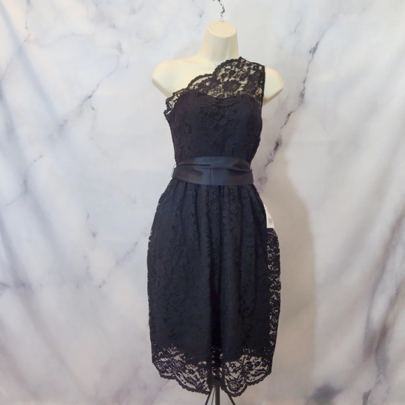 Dresses & Skirts - NEW NWT DRESS ONE SLEEVE BLACK LACE FULL BOW SASH